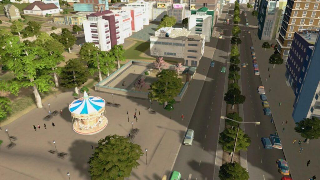 Rua com veículos e alguns prédios em cities: skylines.
