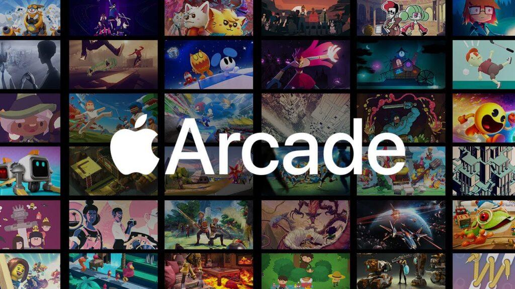 Foto representando várias imagens de diferentes jogos disponíveis no serviço apple arcade com a logomarca do serviço no centro