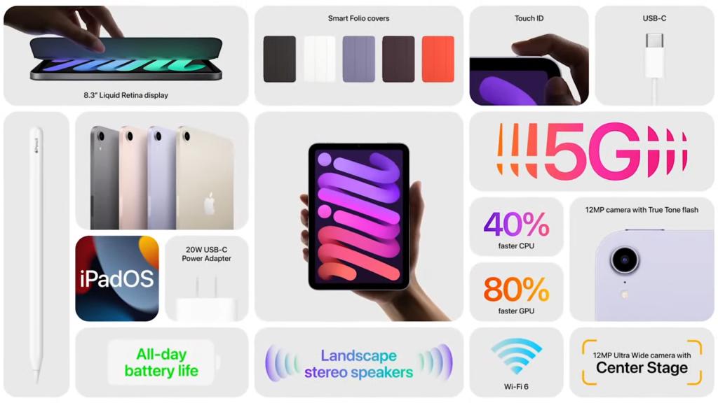 """Apple renova ipad e ipad mini com 5g e design da linha pro. Com processadores mais potentes, os novos ipads de 2021 chegam com design inspirado na linha pro e câmeras """"center stage"""""""