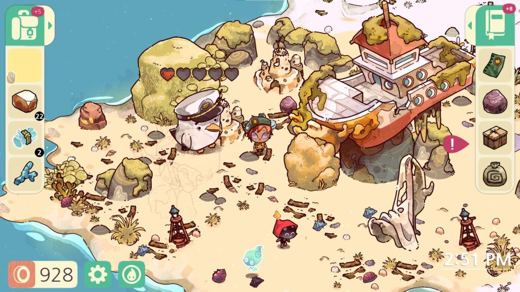 Imagem de cozy grove mostrando a parte da praia da ilha de cozy grove, incluindo o protagonista e um personagem que se parece uma gaivota com um chapéu de marinheiro, a praia está lotada de pequenos pedaços de madeiras, pedras, um barco e conchas, além de dois fantasmas andando no canto inferior.