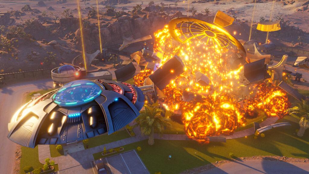 Disco voador explode construção ao fundo.