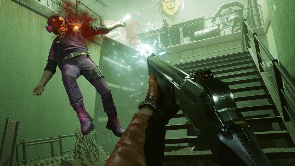 Imagem de colt dando um tiro em um inimigo com outro observando acima.