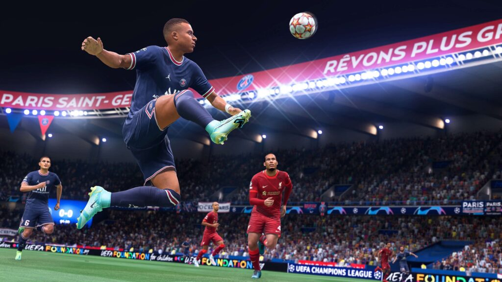 Imagem mostra o jogador mbappe dominando uma bola em fifa 22