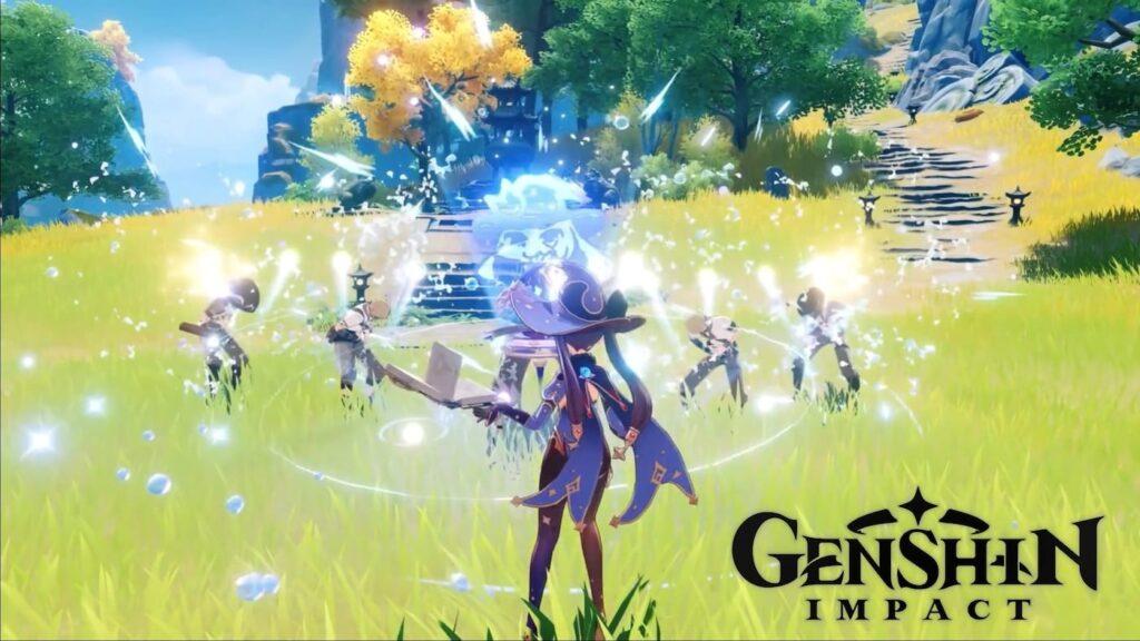 Imagem mostrando uma das personagens de genshin impact usando um ataque de magia em área contra uma fileira de oponentes em uma área florestada aberta