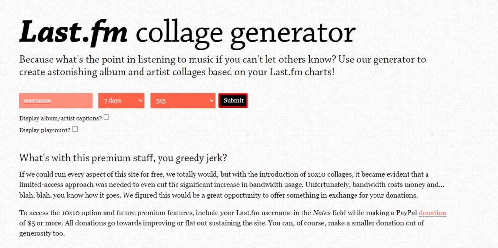 Captura do site tap music. Net para realização de last fm collage