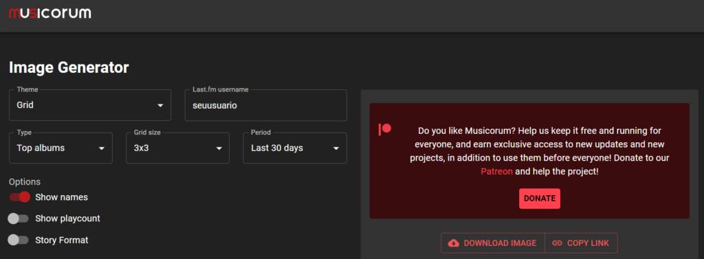 Tela inicial do site musicorum
