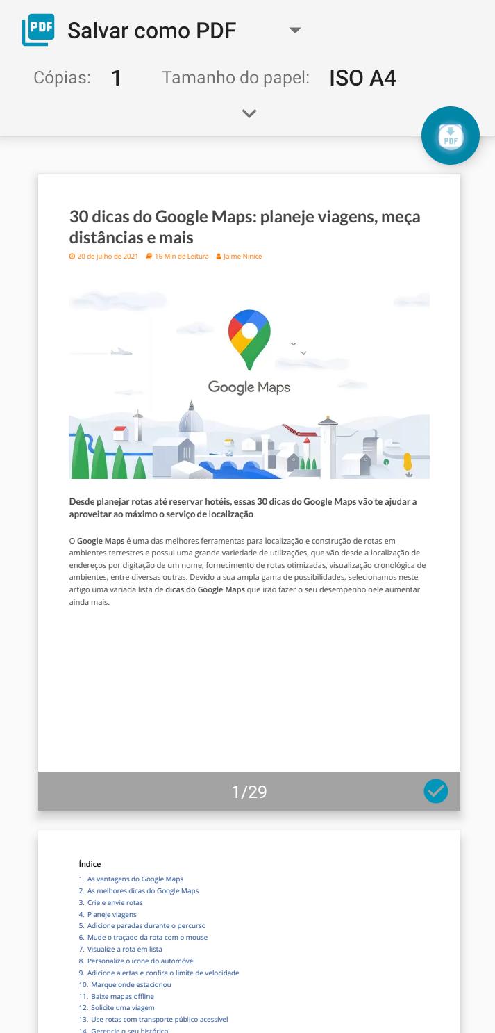 Imprima um site em pdf - dicas e truques que melhoram qualquer smartphone android