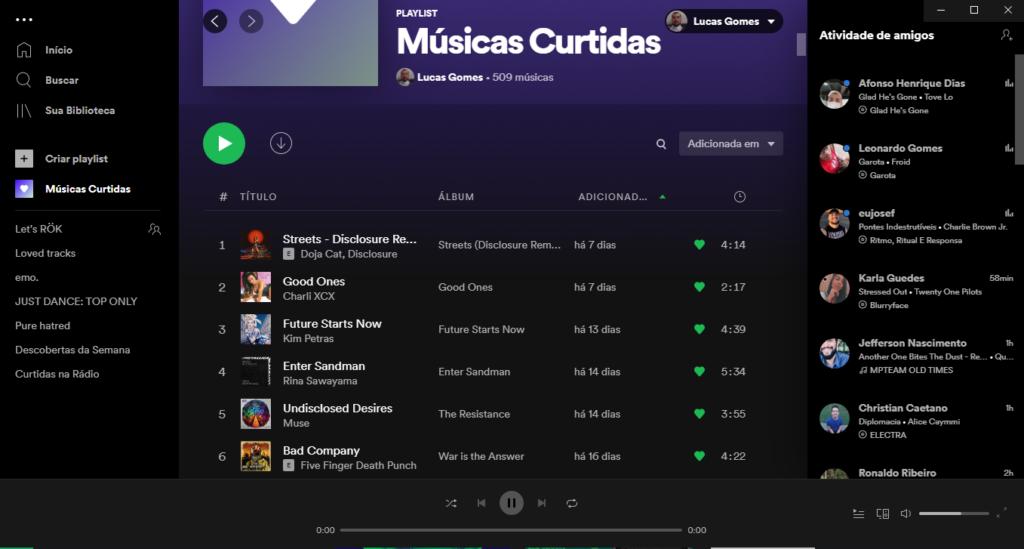 Spotify músicas curtidas