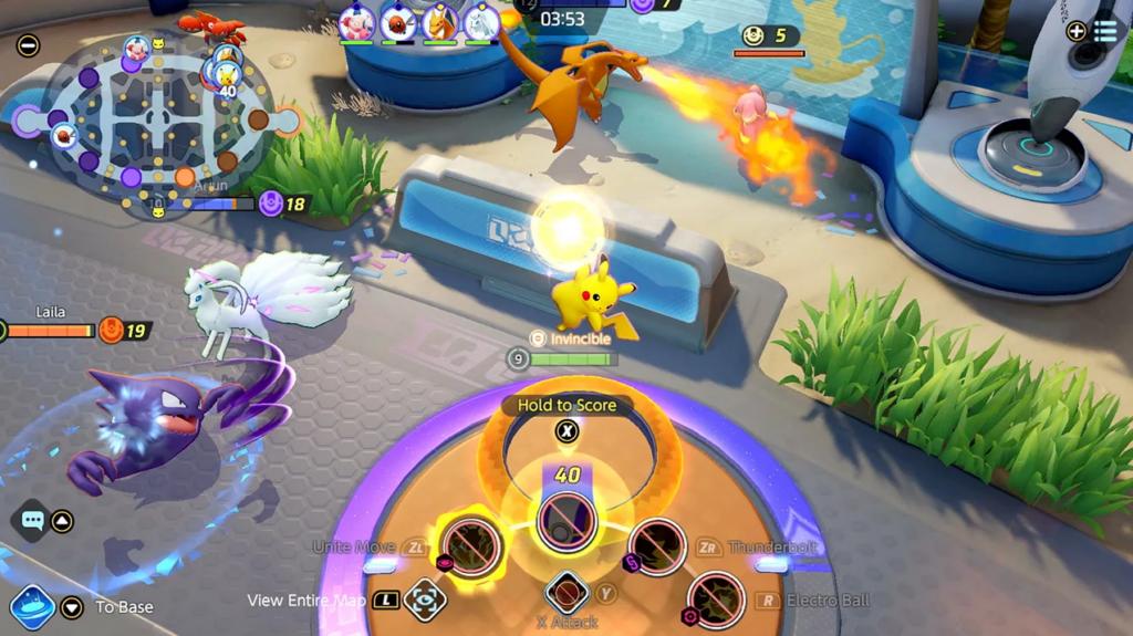 Como jogar pokémon unite: pikachu marcando pontos no goal inimigo