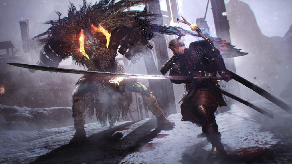 O samurai em batalha contra um dos chefes do jogo.