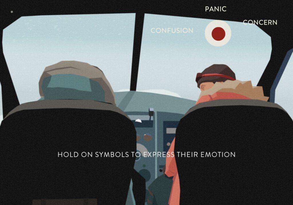 Imagem de south of the circle mostrando o protagonista e outra pessoa em uma visão dentro de um veículo, demonstrando o sistema de jogabilidade do jogo: segurar o botão na parte superior da tela para expressar uma de três emoções (pânico, confusão ou preocupação) para responder à personagem com quem o protagonista está conversando