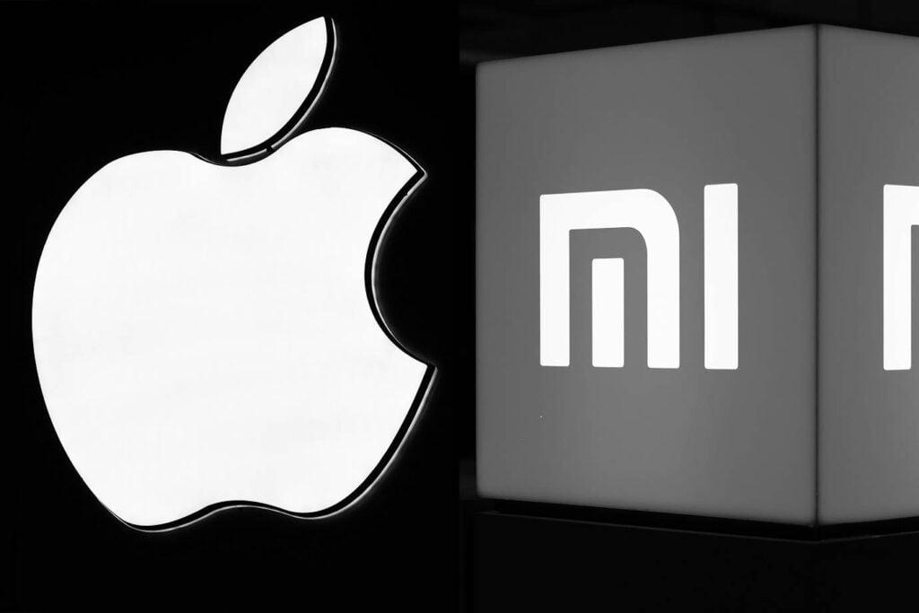 Logo de apple e xiaomi em um fundo preto