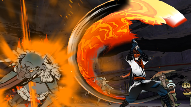 Imagem de divulgação de world of demons mostrando o protagonista desferindo um golpe de espada em um oni (demônio) japonês enquanto outros oni se aproximam