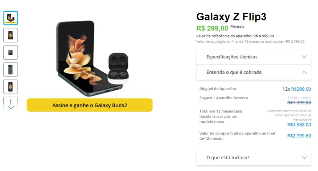O galaxy z flip3 é a outra opção nos planos do samsung sempre novo