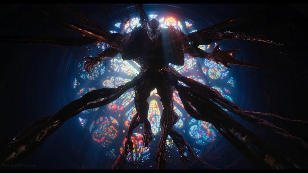 As cenas com Carnificina, como a mostrada aqui, ainda tem cinematografia interessante, apesar dos pesares.