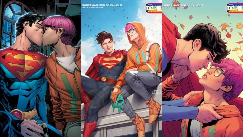 Capas alternativas de son of kal-el #5, e imagem mostrando o novo superman beijando seu novo interesse romântico jay nakamura