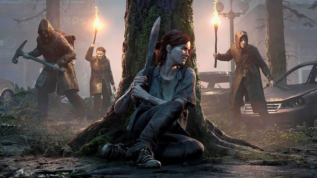 Ellie, atrás de uma árvore, prepara-se para enfrentar vários inimigos.