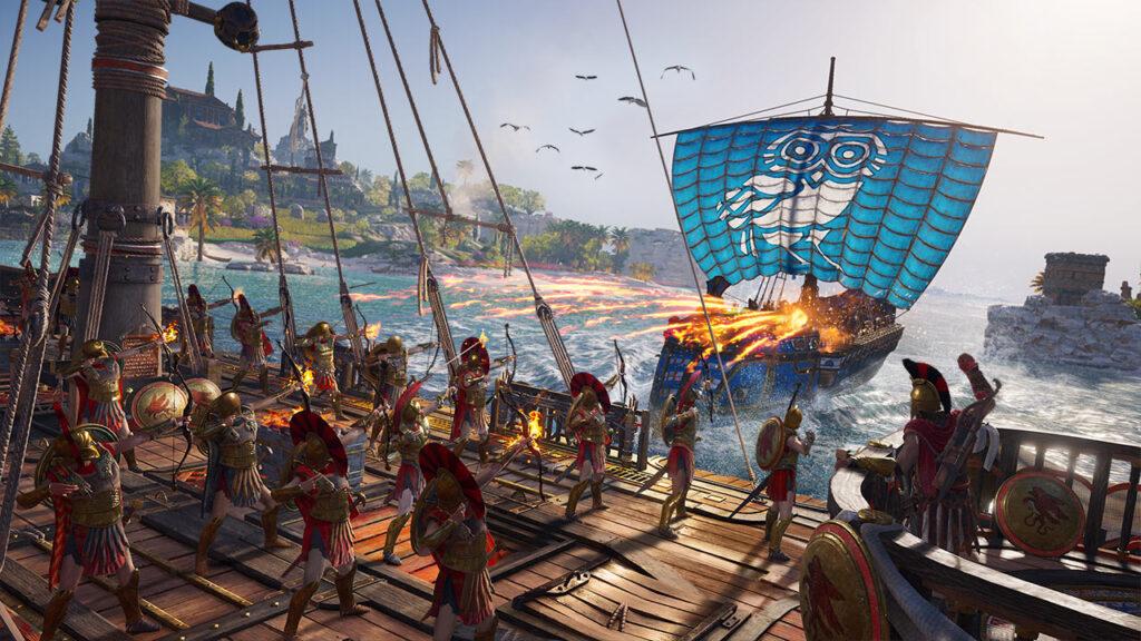 Arqueiros atiram flechas em chamas em direção a uma embarcação.