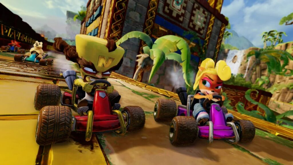 Disputa entre os personagens da franquia crash, em corrida de kart.