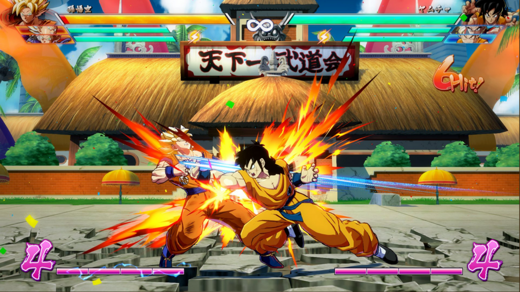 Imagem mostrando yamcha e goku, de dragon ball, lutando em dragon ball fighterz