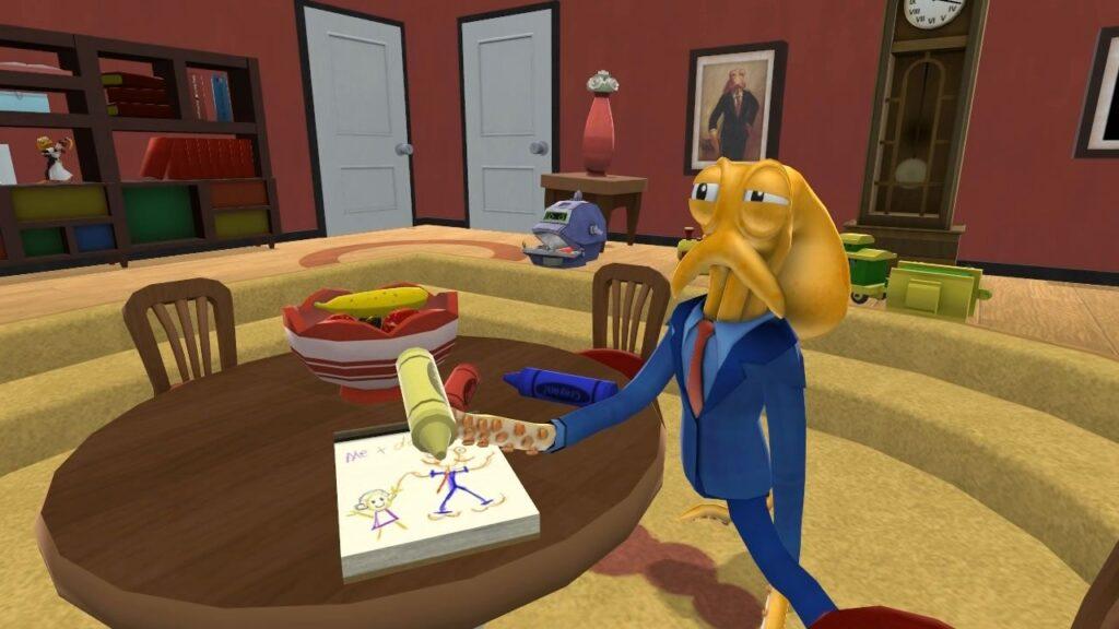 Octodad, o pai que é um polvo, tentando entender como se desenha em um caderno