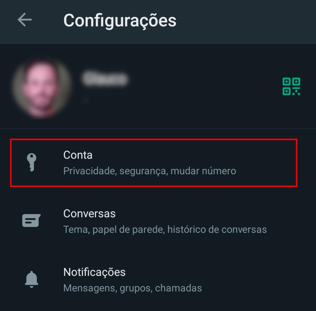Tela de configurações do whatsapp