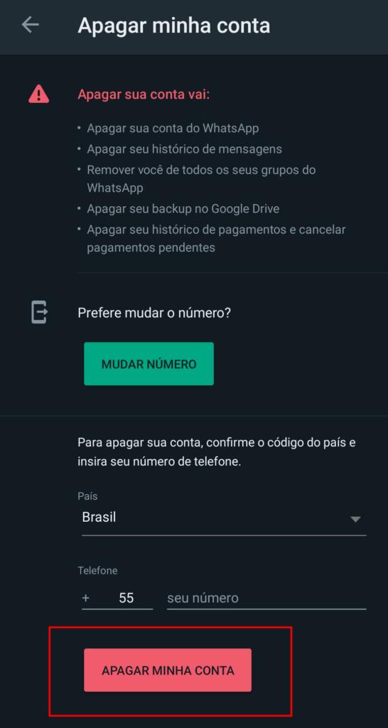 Como apagar a conta do whatsapp