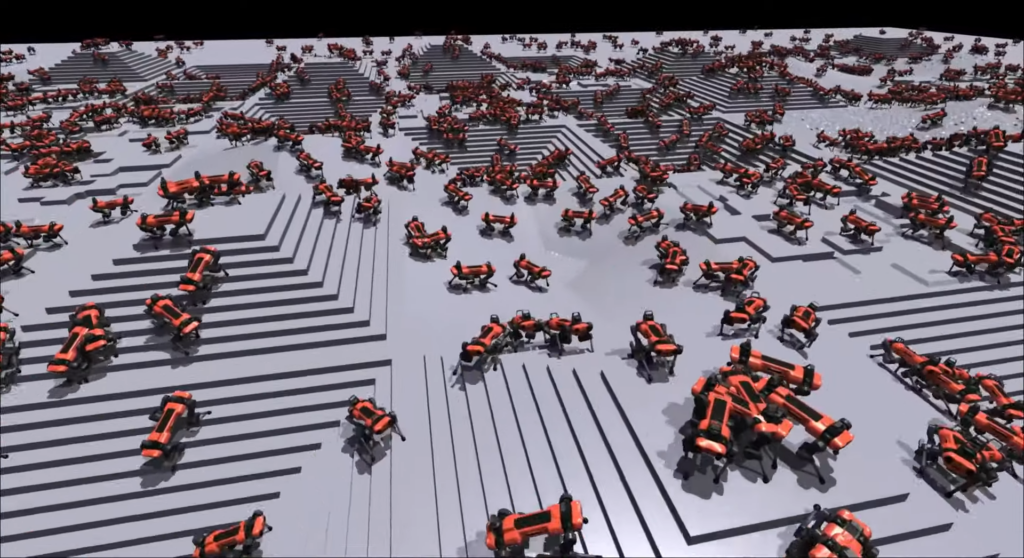 Representação visual (e prática) dos robôs aprendendo a lidar com o terreno virtualmente (reprodução: nvidia)
