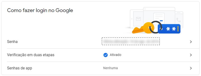 Conta google segurança