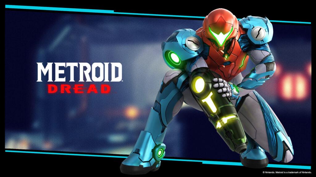 Papel de parede. Logotipo de metroid dread à esquerda, samus em sua armadura à direita e fundo azul.
