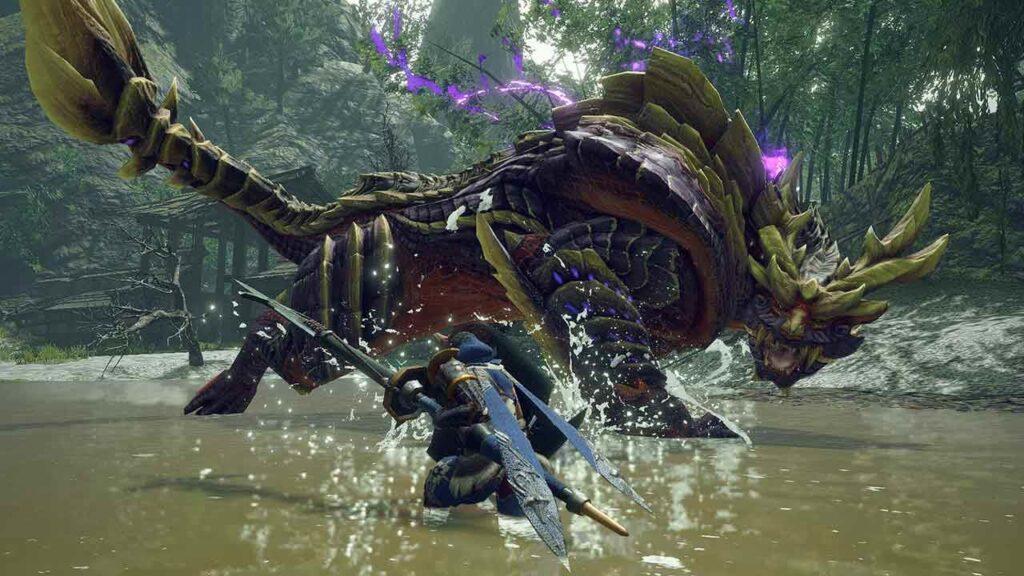 Personagem principal se depara com monstro gigante em ambiente de água rasa.