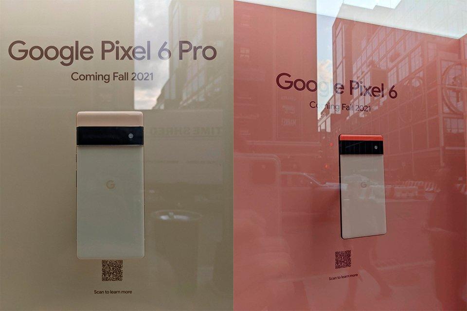 Imagens do pixel 6 e pro 6 exibidos em nova york