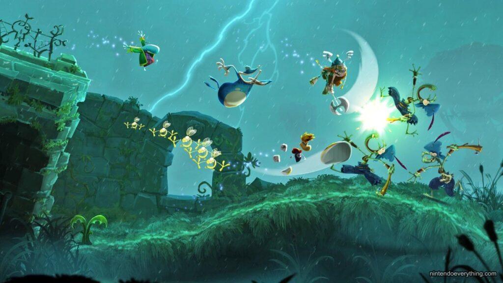 Imagem mostrando o exagero e as belas animações de rayman legends: um grande candidato de jogos para jogar com os filhos