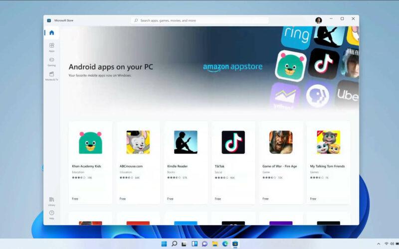 Microsoft libera apps de android no windows 11