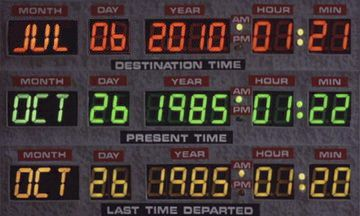 back to the future time clock delorean