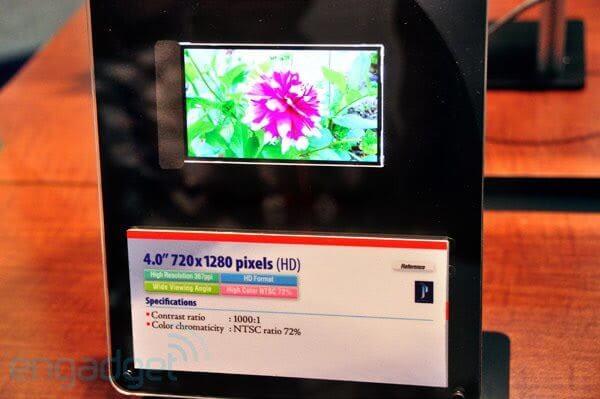 "toshiba 367ppi lcd sid 2011 - Toshiba apresenta display de 4"", 1280x720 e 367 ppi"