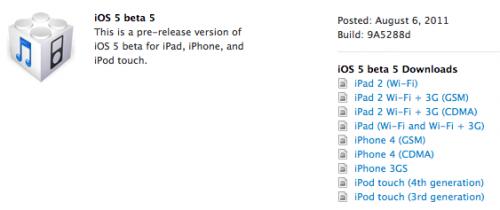 Apple divulga quinto beta do ios 5 para desenvolvedores. A apple liberou sábado a quinta versão beta do próximo ios. O build9a5288d e um update delta incremental da versão anterior foram disponibilizados para desenvolvedores na central de desenvolvimento no site da empresa. Estranhamente, o update ota necessita de um hard reset no aparelho.