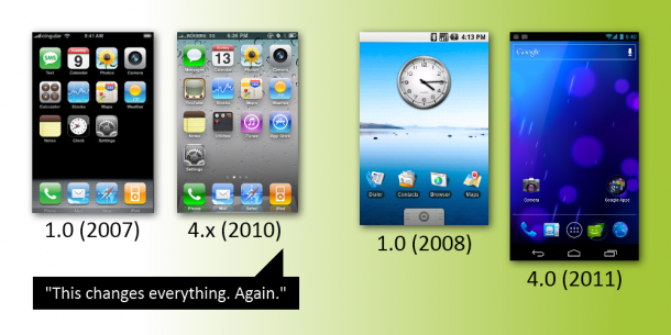 3 years ios android1 610x305 - iOS x Android: o que mudou no layout desde 2007