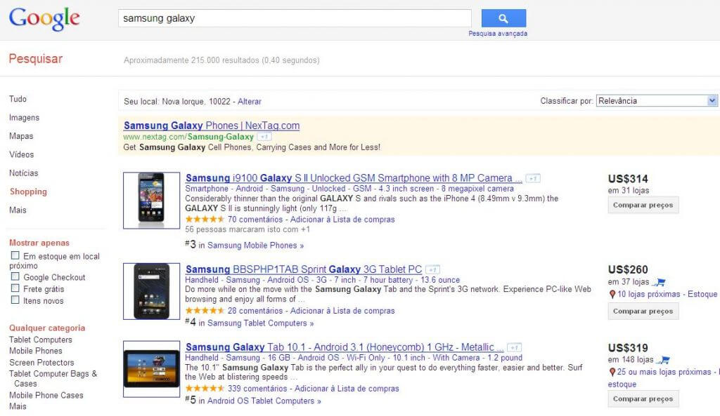 Google Shopping Compras