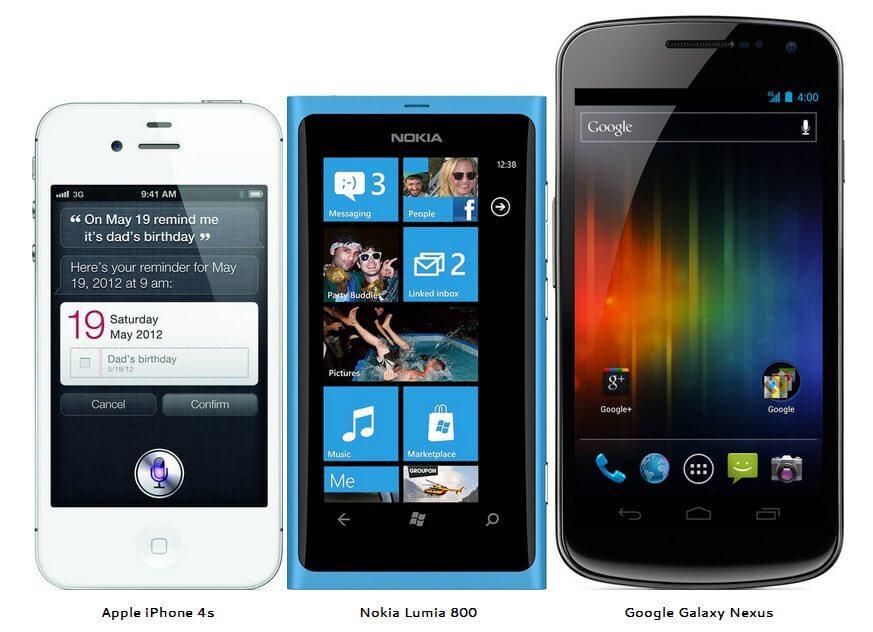 Iphone 4S Nokia Lumia 800 Samsung Galaxy Nexus Android iOS Windows Phone 7