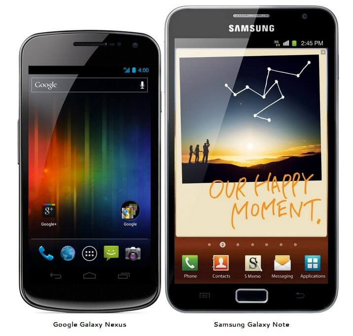 Samsung Galaxy Nexus Galaxy Note Android vs. x
