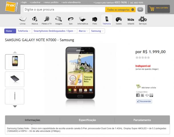 Galaxy Note aparece no site da Fnac Brasil