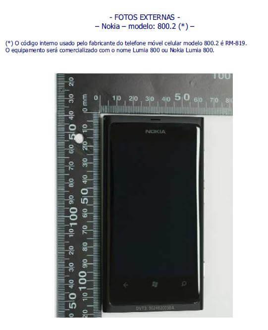 nokia 800 - Nokia Lumia 800 é homologado pela Anatel