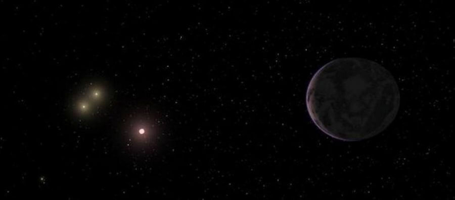 Representação do exoplaneta potencialmente habitável