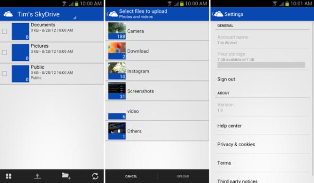 skydrive android 610x357 - SkyDrive da Microsoft ganha app para o Android