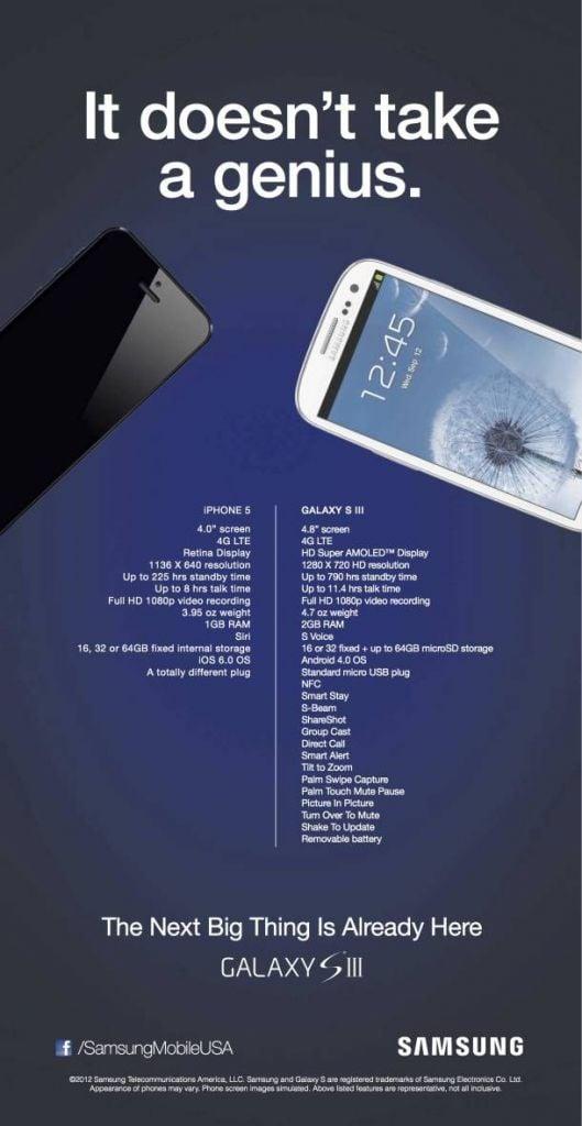 Novo anúncio da Samsung faz comparação com o iPhone 5