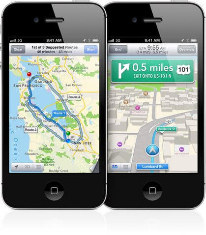ios6 maps turnbyturn - CEO da Apple se desculpa publicamente sobre Mapas do iOS 6