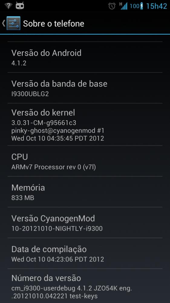 Galaxy SIII i9300 Android CM10 4.1.2