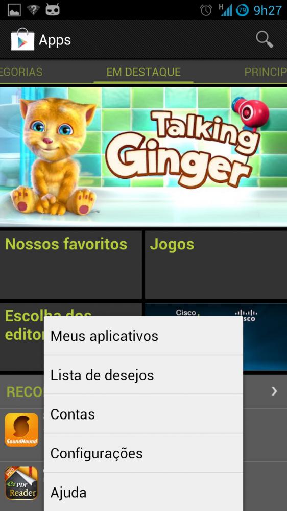 Google play screenshot menu lista de desejos