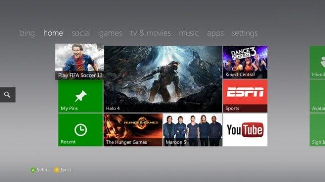 Xbox Live Dashboard de 2012